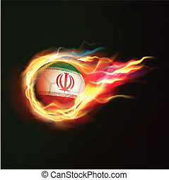 Iran flag with flying soccer ball on fire isolated black background, vector illustration