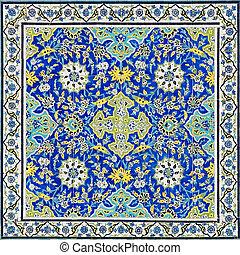 iran, fond, oriental, carrelé, ornements, isfahan, mosquée