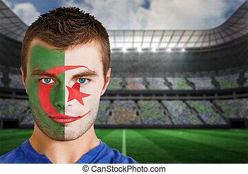 Iran football fan in face paint