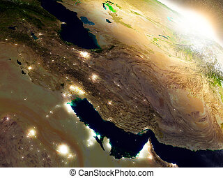 Iran from space during sunrise - Iran region from Earth's...