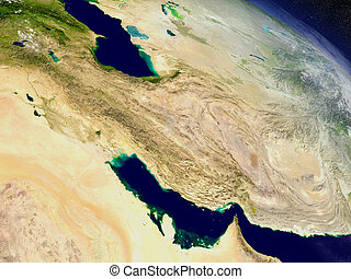 Iran from space - Iran with surrounding region as seen from...