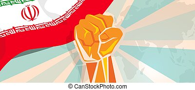 Iran hand fist propaganda poster fight and protest independence struggle rebellion show symbolic strength