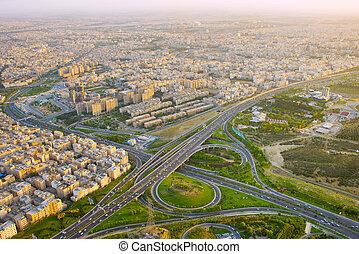 Iran highway, aerial view. Tehran - Huge road overpass in ...