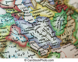 Iran Iraq map - Map with Iraq and Iran with selective...