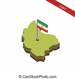 Iran Isometric map and flag. Vector Illustration.