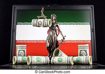 iran, justice, symbole, prise vue., dollar, laptop., une, billets banque, drapeau, studio, droit & loi