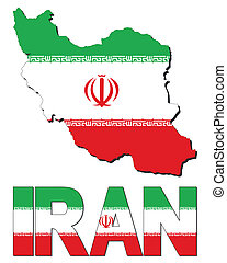 Iran map flag and text