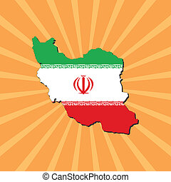 Iran map flag on sunburst