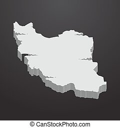 Iran map in gray on a black background 3d