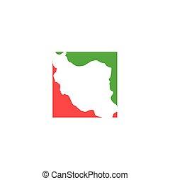 iran map logo icon vector symbol element