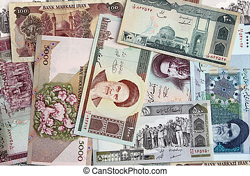Islamic Republic of Iran money, tiled to repeat seamlessly as a background.