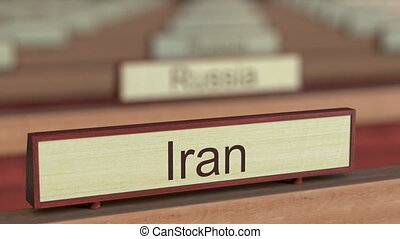 Iran name sign among different countries plaques at...