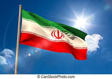 Iran national flag on flagpole