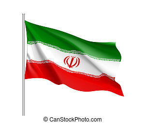 Iran national flag, realistic  illustration