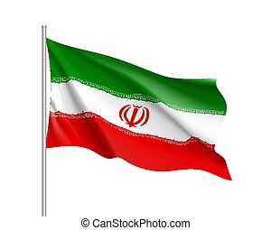 Iran national flag, realistic vector illustration