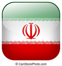 Iran national flag square button isolated on white background
