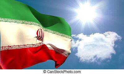Iran national flag waving