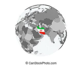 Iran on globe isolated