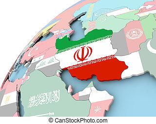 Iran on globe with flag