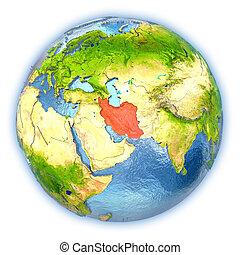Iran on isolated globe
