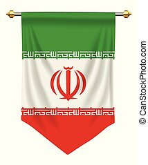 Iran Pennant - Iran flag or pennant isolated on white