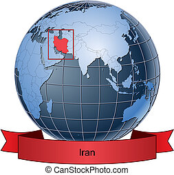 Iran, position on the globe Vector version with separate layers for globe, grid, land, borders, state, frame; fully editable