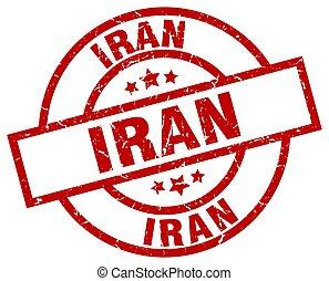 Iran red round grunge stamp