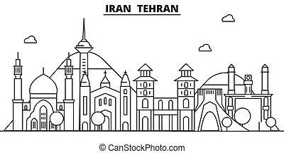Iran, Tehran architecture line skyline illustration. Linear vector cityscape with famous landmarks, city sights, design icons. Editable strokes