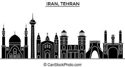 Iran, Tehran architecture vector city skyline, black cityscape with landmarks, isolated sights on background