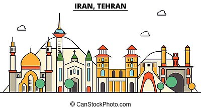 Iran, Tehran. City skyline architecture, buildings, streets, silhouette, landscape, panorama landmarks Editable strokes Flat design line vector illustration concept Isolated icons