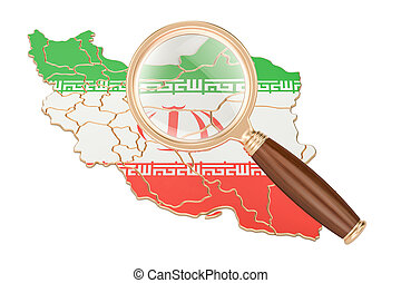 Iran under magnifying glass, analysis concept, 3D rendering