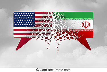 Iran United States crisis and USA conflict concept as an American and Iranian security problem due to economic sanctions and nuclear deal agreement dispute in a 3D illustration style.