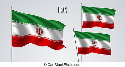 Iran waving flag set of vector illustration. Green red colors