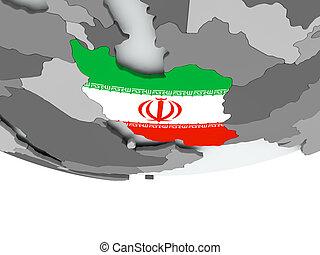 Iran with flag on globe