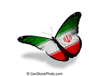 Iranian flag butterfly flying, isolated on white background
