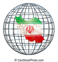Iranian map on the Earth Globe. 3D rendering