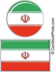 Iranian round and square icon flag.