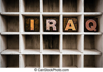 Iraq Concept Wooden Letterpress Type in Draw