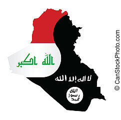 Iraq Conflict - Map of Iraq showing the two warring factions...