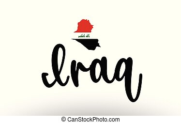 Iraq country big text with flag inside map concept logo