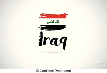 iraq country flag concept with grunge design icon logo