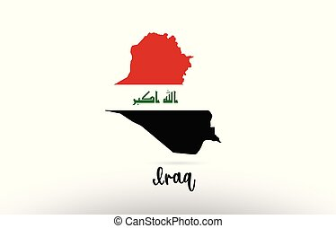 Iraq country flag inside map contour design icon logo