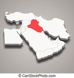 Iraq country location within Middle East 3d map