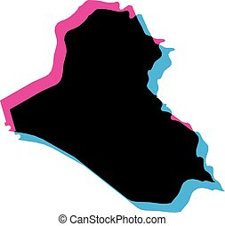 Iraq country silhouette with chromatic aberration effect.