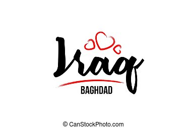 Iraq country with red love heart and its capital Baghdad creative typography logo design
