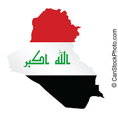 Flag of Iraq overlaid on outline map isolated on white background translation of Arabic script meaning God is great