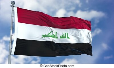 Iraq Flag in a Blue Sky. Use this clip loud and proud to...