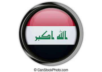 Iraq flag in the button pin Isolated on White Background