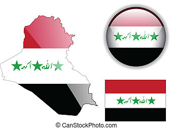 Iraq flag, map and glossy button.