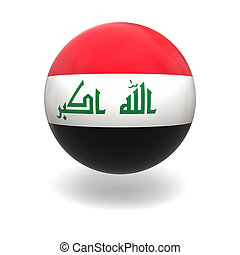 Iraq flag - National flag of Iraq on sphere isolated on...